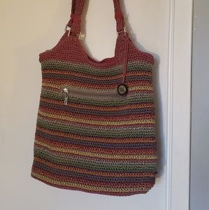 The Sak Red Rainbow Striped Handbag Tote
